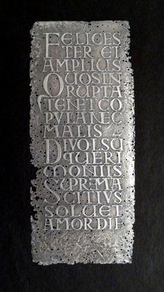 Gravure sur zink!  Texte d'Horace