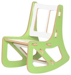 Kids Rocking Chair, Green and White