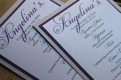 Elegant Wedding Menu, Script Names with Crystals - Modern Wedding, Elegant Menu, Shimmer Paper