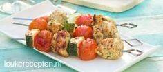 Italiaanse kip spies HOOFDGERECHT – 15 MIN + 8 GRILLEN – 4 SPIEZEN *  Lekkere en makkelijke bbq spies met kip in pesto marinade, stukjes courgette en cherrytomaatjes