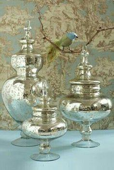 Beautiful mercury glass jars - our each price $ 5.00 , $ 6.50 , $ 7.50