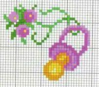 ciuccio - punto croce - cross Stitch - Kreuzstich - Punto de Cruz Cross Stitch Baby, Cross Stitch Charts, Cross Stitch Designs, Cross Stitch Patterns, Cross Stitching, Cross Stitch Embroidery, Embroidery Patterns, Pixel Crochet Blanket, Iron Beads