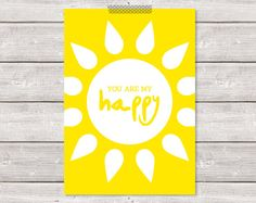 You Are My Happy White Sun On Yellow A4 Digital by LochnessStudio, $18.00