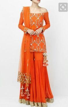 Orange Zardosi And Sequin Sharara Set Priyanka Singh Indian designer online sharara set Sari, Lehenga Choli, Anarkali, Dress Indian Style, Indian Dresses, Indian Attire, Indian Wear, Pakistani Outfits, Indian Outfits