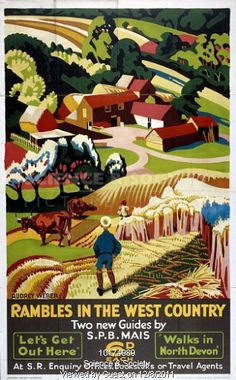 WALKING HOLIDAYS - Rambles in the West Country - Walks in North Devon - Southern Railway poster. 1938