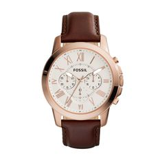 Fossil Men's Grant Quartz Stainless Steel and leather Dress Watch Color: Rose gold, Brown (Model: Herren Chronograph, Rugged Watches, Fossil Watches For Men, Cool Watches, Women's Watches, Mode Man, Brown Leather Strap Watch, Skeleton Watches, Shopping
