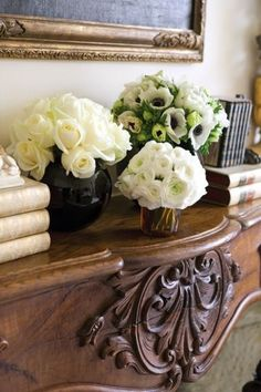 white and pale green flowers, beautiful carved antique wood