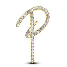 Round White Diamond 14K Yellow Gold On 925 Sterling P Initial Pendant For Unisex #eightyjewels #InitialPendant #PromiseMothersdayValentineDay