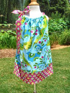 Sale Girls pillowcase dress Pretty Bird collection by babyharrill, $17.00