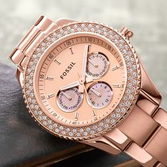 rose gold watch by Fossil