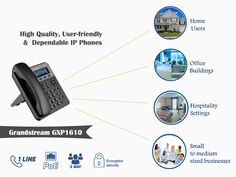 The #Grandstream #GXP1610 offers support for 1 line, 2 call appearances and includes 3-way voice conferencing to maximize productivity. a 132x48 LCD screen for easy viewing, 3 XML programmable soft keys for customization, 10/100 mbps ports and EHS support for Plantronics headsets and multi-language support.
