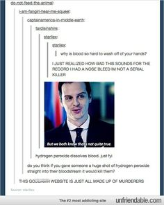 Serial killer... tumblr funny.  I understand the Sherlock references now. ;)