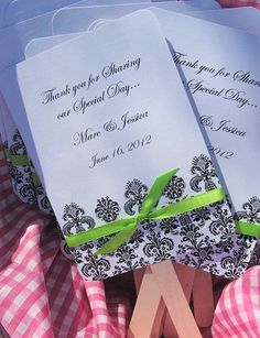 Personalized Wedding Favor Fans - Damask with Ribbonrainbow ribbon?