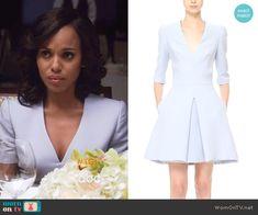 Olivia's lavender v-neck dress on Scandal.  Outfit Details: https://wornontv.net/57804/ #Scandal