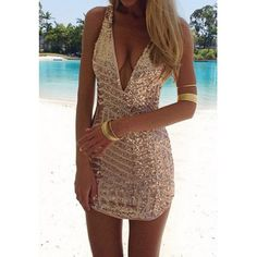 Sexy Plunging Neck Sleeveless Sequined Bodycon Women's Dress size S