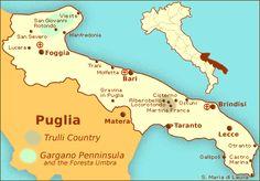 Puglia Map: Travel Map of the Region of Puglia in Italy