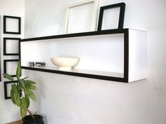 Modern Wall Book Case Decor for Home Decor  Office Book Shelf White Black Dark Chocolate Modular Wood Floating Shelf