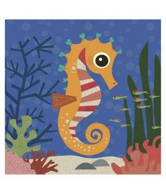 """Art.com - Ocean Friends, Samuel : Target. 12 x 12 Art Print. Great for a child's bedroom or play area. There are 4 other sea critters available. See my board """"Marketplace"""" to view them!"""