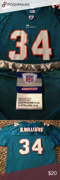 NFL Miami Dolphins Williams 34 Jersey Size XL Boys Miami Dolphins Williams #34 Reebok Jersey. Size XL Boys (18-20). Good Used Condition. Please see photos for details. Reebok Shirts & Tops Tees - Short Sleeve