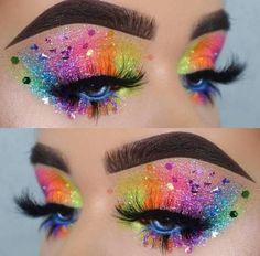 Rainbow Glitter Eyes Makeup Look For Your Next Electronic Music Festival Or Rave Pride Makeup Ideas Electronic Eyes Festival Glitter Makeup Music Rainbow Rave Glitter Eyeshadow Palette, Glitter Eye Makeup, Eyeshadow Makeup, Makeup Art, Makeup Ideas, Makeup Designs, Makeup Tutorials, Lace Makeup, Stila Glitter