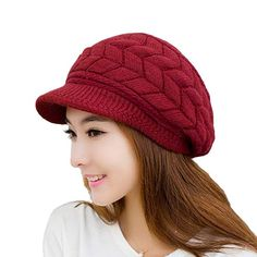7b74f19bc52 Loritta Womens Winter Warm Knitted Hats Slouchy Wool Beanie Hat Cap with  Visor  womenhats