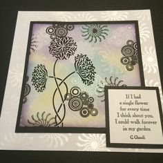 This card was made using 'Beautiful Blossoms' Sweet Poppy Stencil. The background was created on the Gelli Plate using distress ink and some Crealies stamps. I used Sweet Poppy mica powder to add a shimmer effect to the card base and a Clarity Stamps sentiment.