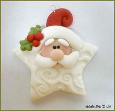 Polymer Clay Star Santa Pendant Charm Bead by michellesclaybeads, $3.00