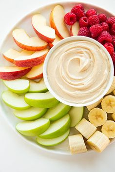 For a protein-packed fruit dip everyone will love, combine Greek yogurt + peanut butter + honey. | 7 Ways To Eat Healthier This Week