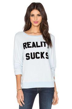 Wildfox Couture Reality Sucks Sweatshirt in Jacuzzi | REVOLVE