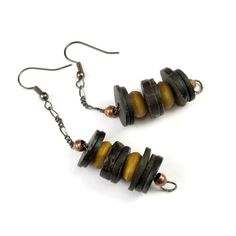 African Drop Earrings with Nigeria Coco Wood and Mauritanian Wood #a071 #CactusCove