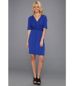 Ivy & Blu Maggy Boutique 3/4 Sleeve Knot Front Dress Wave - 6pm.com