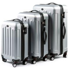 02fe966b3 FERGÉ Luggage Set 3 Piece Hard Shell Travel Trolley Lyon Suitcase Set 4  Twin Spinner Wheels