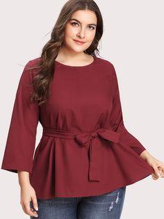 ec4cfbb1ad8 Shop Plus Self Tie Blouse online. SheIn offers Plus Self Tie Blouse   more  to