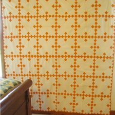 Double 9 patch quilt top Cheddar Yellow Gold and Cream Old Quilts, Antique Quilts, Scrappy Quilts, Vintage Quilts, Amish Quilts, Monochromatic Quilt, Neutral Quilt, Yellow Quilts, Red And White Quilts