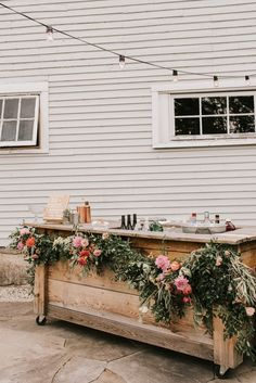 This couple created a relaxed and open bar vibe by having cocktail hour last from before the ceremony on through the night Image by Jamie Mercurio Photography Wedding Tips, Wedding Venues, Wedding Planning, Dream Wedding, Wedding Day, Rustic Wedding Bar, Wedding Barns, Diy Wedding Benches, Fall Barn Weddings