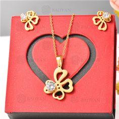Conjunto de Joyas Acero Dorado para Mujer -SSNEG132-5859