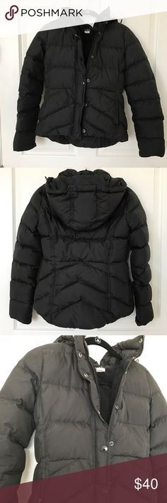 J.Crew Puffer Jacket Gently used. Front pockets. Removable hood. Zip and button closure. Interior has loose feathers from normal wear (see last two photos). J. Crew Jackets & Coats Puffers