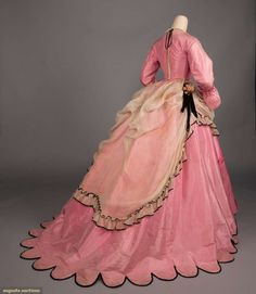 PINK SILK TAFFETA DINNER GOWN, c. pink silk taffeta gown w/ square neckline & net & ribbon modesty panel, corset bodice w/ back lacing, shaped bell cuffs, trained skirt w/ scalloped. Clothing And Textile, Antique Clothing, Historical Clothing, Historical Dress, Dinner Gowns, Evening Dresses, Victorian Fashion, Vintage Fashion, Victorian Style Dresses