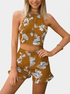 Yellow Random Floral Print Sleeveless Top & Two Pockets Skorts Co-ord #ActiveSkorts