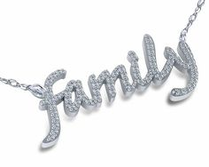 Family Prong Set Round Cubic Zirconia Nameplate Necklace in 14k white gold by Ziamond. #ziamond #cubiczirconia #family #nameplate #necklace #14kgold