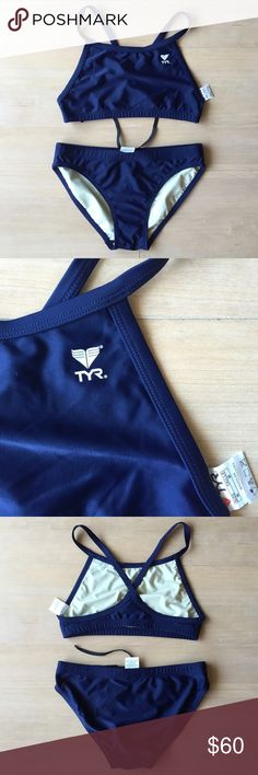 TYR Bikini Set NWOT | Navy | M New without tag. Standard TYR training bikini set. Screened logo left upper chest. Top is completely lined, bottom is completely lined with drawstring. 80% nylon/20% Lycra spandex, lining is 80% polyester/20% spandex. Hand wash in cold water after each use, hang dry. Smoke-free/pet free home. No trades. TYR Swim Bikinis