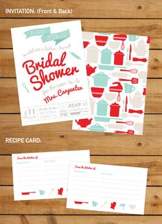 Kitchen Themed Bridal Shower Invitation and Decor    This listing is for a digital 5 x 7 Bridal Shower Invitation, a 3x5 Recipe Card, Party Favor Tags,