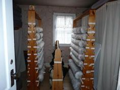 Textile storage on the upper floor of Henry House.  Behind every closed door is storage space!