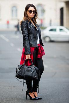 All Leather With a Pop of Plaid Jacket: ZARA | T-shirt: ALEXANDER WANG | Trousers: J. BRAND | Shirt: H&M | Necklace: ETSY (same here) | Bag: BALENCIAGA | Heels: SAINT LAURENT | Sunglasses: KAREN WALKER