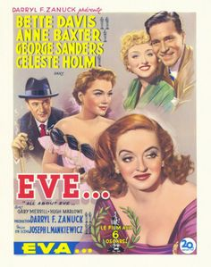 """""""All About Eve"""" poster with Bette Davis, Anne Baxter, George Sanders, and Celeste Holm (1950)"""