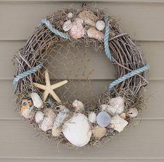 beach wreath, coastal wreath, rustic wreath, beach décor, coastal décor www.etsy.com/shop/cathycjewelsanddecor
