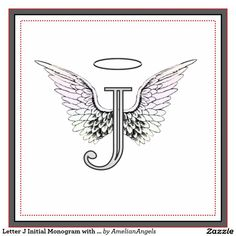Angel Tattoos In Memory Of Mom : Letter J Initial Monogram with Angel Wings & Halo Tile More. Letter J Tattoo, Monogram Tattoo, Initial Tattoo, Letter Monogram, Rip Tattoos For Mom, Mom Tattoos, Small Tattoos, Cute Tattoos For Women, Small Angel Tattoo