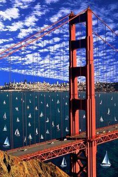 Sailboats by the Golden Gate Bridge, San Francisco, CA, USA.