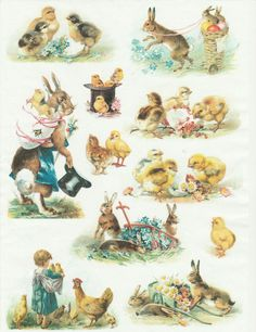 Ricepaper for Decoupage Decopatch Scrapbook Craft Sheet Vintage Happy Easter