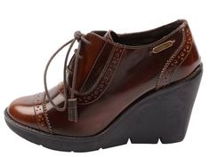 Skor - Pepe Jeans: Greenford. brown shoe, wedge heel